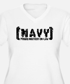 Proud NAVY MthrNlaw - Tattered Style T-Shirt