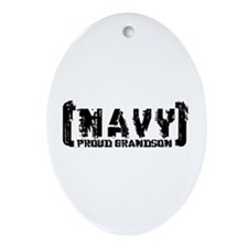 Proud NAVY Grndsn - Tattered Style Oval Ornament