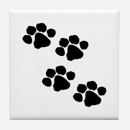 Pet Paw Prints Tile Coaster