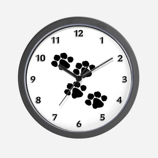 Pet Paw Prints Wall Clock