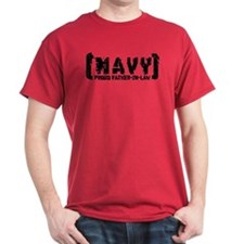 Proud NAVY FthrNlaw - Tattered Style T-Shirt