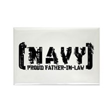 Proud NAVY FthrNlaw - Tattered Style Rectangle Mag