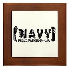 Proud NAVY FthrNlaw - Tattered Style Framed Tile