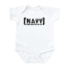 Proud NAVY BroNlaw - Tattered Style Infant Bodysui