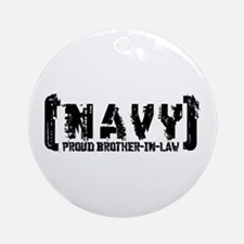 Proud NAVY BroNlaw - Tattered Style Ornament (Roun