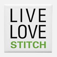 Live Love Stitch Tile Coaster