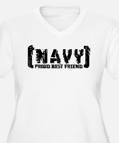 Proud NAVY Bst Frnd - Tattered Style T-Shirt