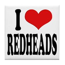 I Love Redheads Tile Coaster