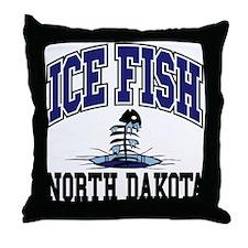 Ice Fish North Dakota Throw Pillow