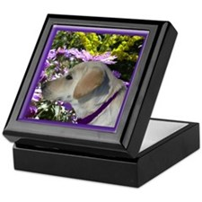 Lab Pup with Asters Keepsake Box