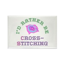 I'd Rather Be Cross-Stitching Rectangle Magnet