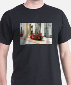 Red flowers on window outside the house wi T-Shirt