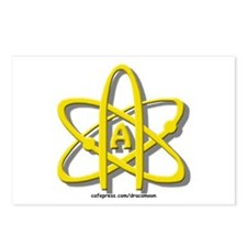 Golden A-Theist Symbol Postcards (Package of 8)
