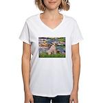 Lilies2/Greyhound (f) Women's V-Neck T-Shirt