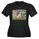 Lilies2/Greyhound (f) Women's Plus Size V-Neck Dar