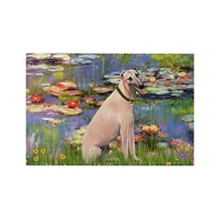 Lilies2/Greyhound (f) Rectangle Magnet