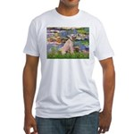 Lilies2/Greyhound (f) Fitted T-Shirt