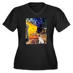 Cafe / JRT Women's Plus Size V-Neck Dark T-Shirt