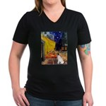 Cafe / JRT Women's V-Neck Dark T-Shirt