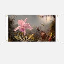 Cattleya Orchid And Three Hummingbirds Banner