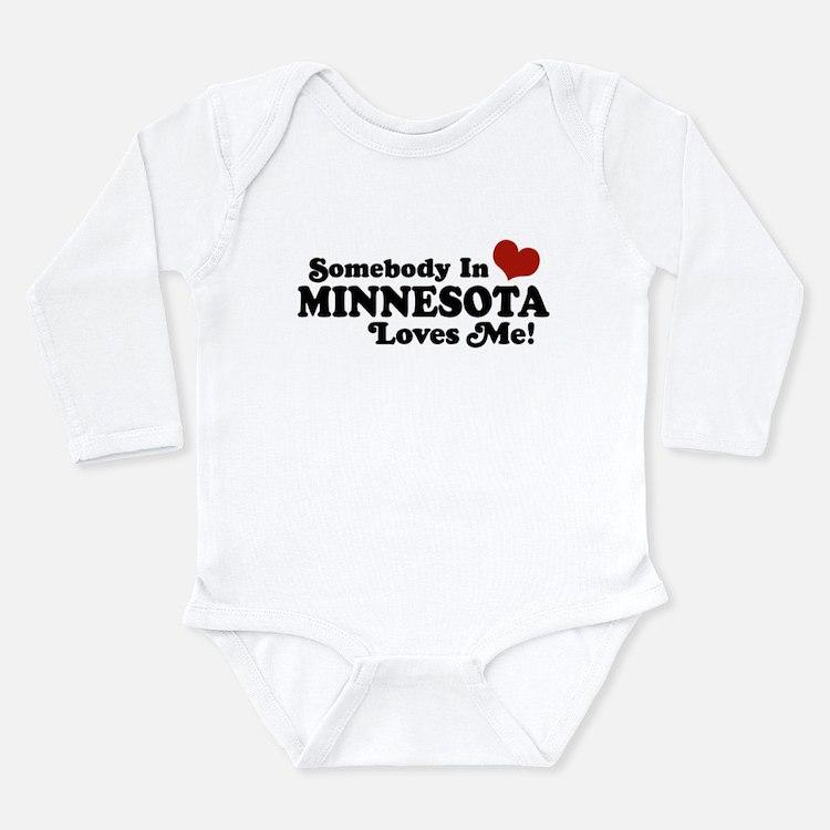 Cute I love minnesota Long Sleeve Infant Bodysuit