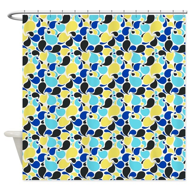Blue And Yellow Paisley Shower Curtain By Admin CP59133934