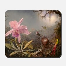 Cattleya Orchid And Three Hummingbirds Mousepad