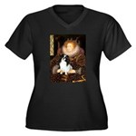 Queen/Japanese Chin Women's Plus Size V-Neck Dark