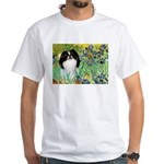 Irises/Japanese Chin White T-Shirt
