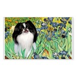 Irises/Japanese Chin Sticker (Rectangle)