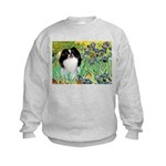 Irises/Japanese Chin Kids Sweatshirt