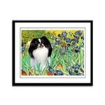 Irises/Japanese Chin Framed Panel Print