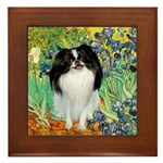Irises/Japanese Chin Framed Tile