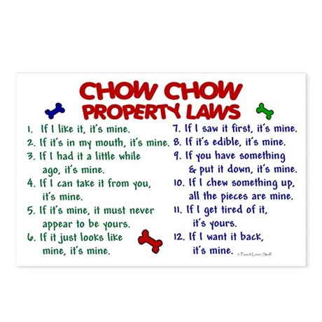 Chow Chow Property Laws 2 Postcards (Package of 8)