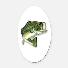 Cute Bass fishing Oval Car Magnet