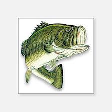 "Cute Bass fishing Square Sticker 3"" x 3"""