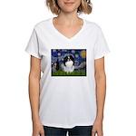 Starry/Japanese Chin Women's V-Neck T-Shirt