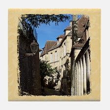 French Village Scene, Sarlat Tile Coaster