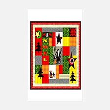 Christmas Folk Art Quilt Appl Sticker (Rectangular