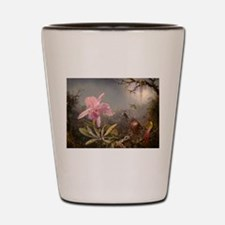 Cattleya Orchis and Three Hummingbirds Shot Glass