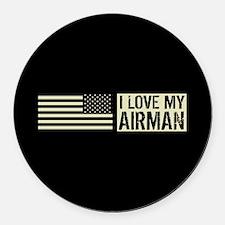U.S. Air Force: I Love My Airman Round Car Magnet