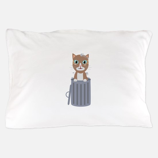 Cute Cat In the trash can Pillow Case