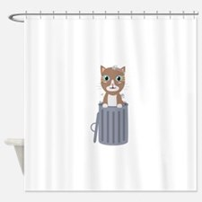 Cute Cat In the trash can Shower Curtain