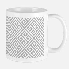 Gray Greek Key Mugs