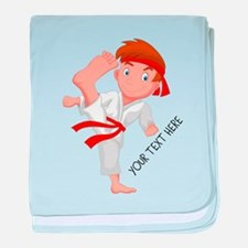 PERSONALIZED KARATE BOY baby blanket