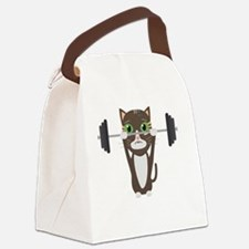 Fitness cat weight lifting Canvas Lunch Bag