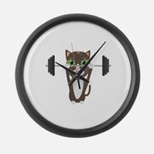 Fitness cat weight lifting Large Wall Clock