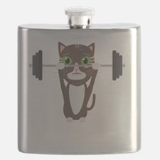 Fitness cat weight lifting Flask