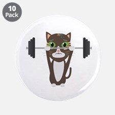 "Fitness cat weight lifting 3.5"" Button (10 pack)"