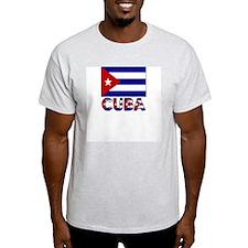 Cuba Word and Flag Ash Grey T-Shirt